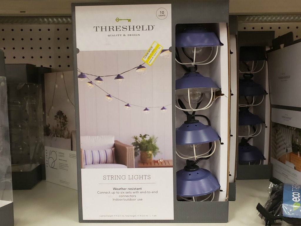blue lights to decorate outdoors on store shelf