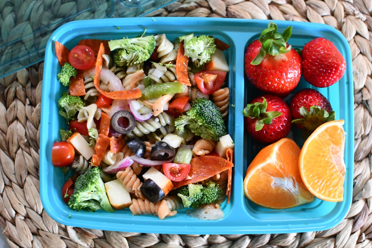 pasta salad lunch for kids in a lunch container