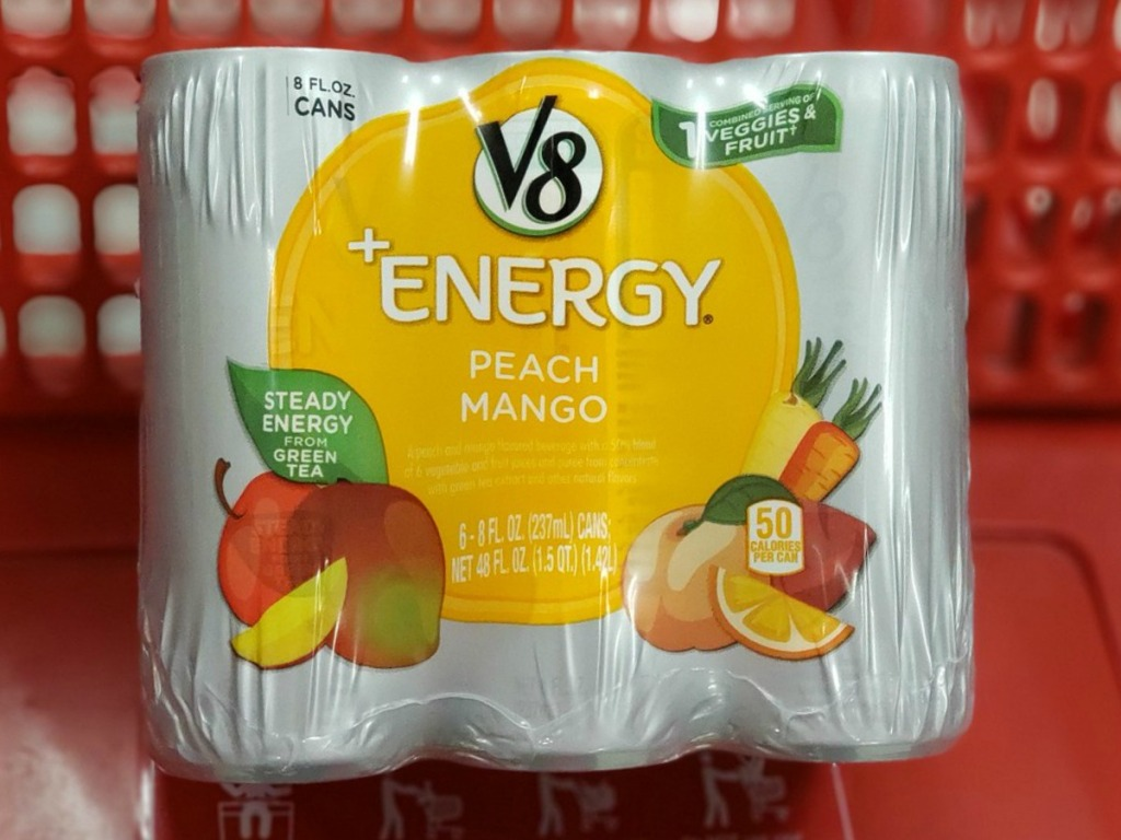 package of wrappred v8 drinks in shopping cart