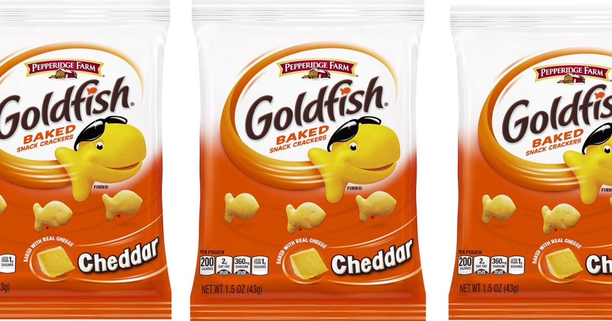 three goldfish snack bags in a row