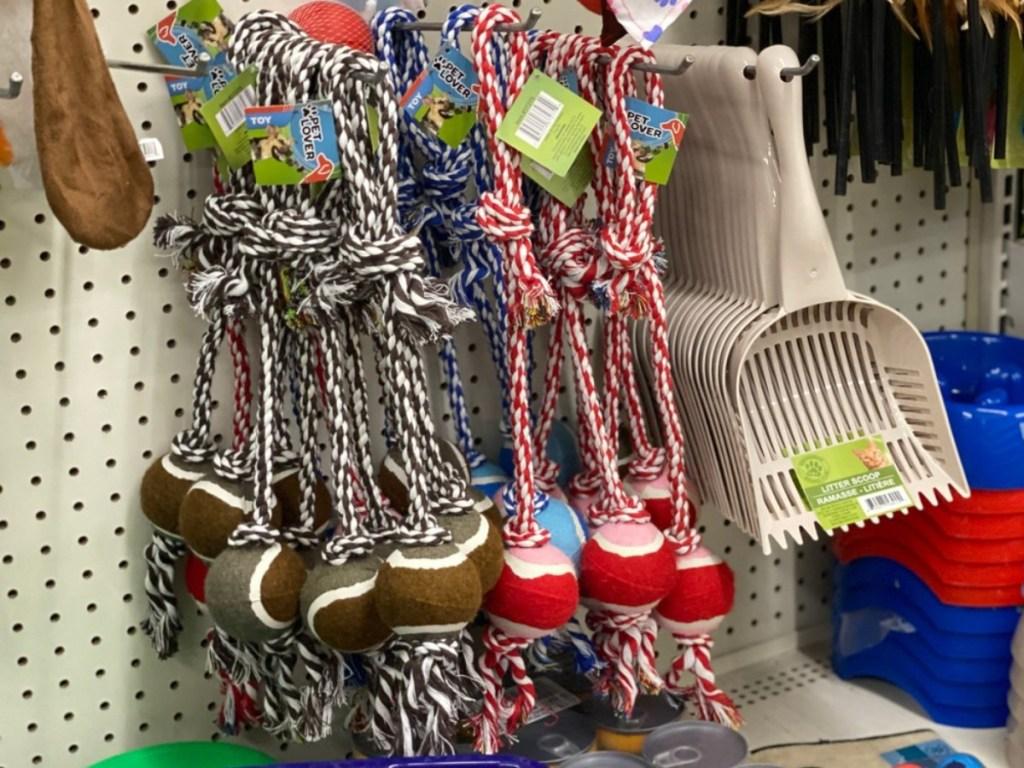Ball and rope dog toys at Dollar Tree
