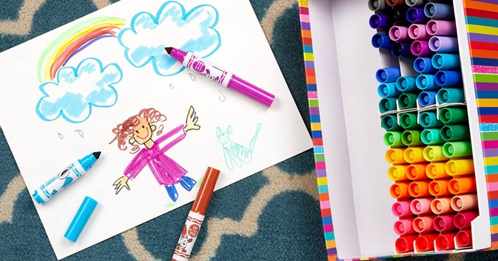 crayola markers with drawing and box