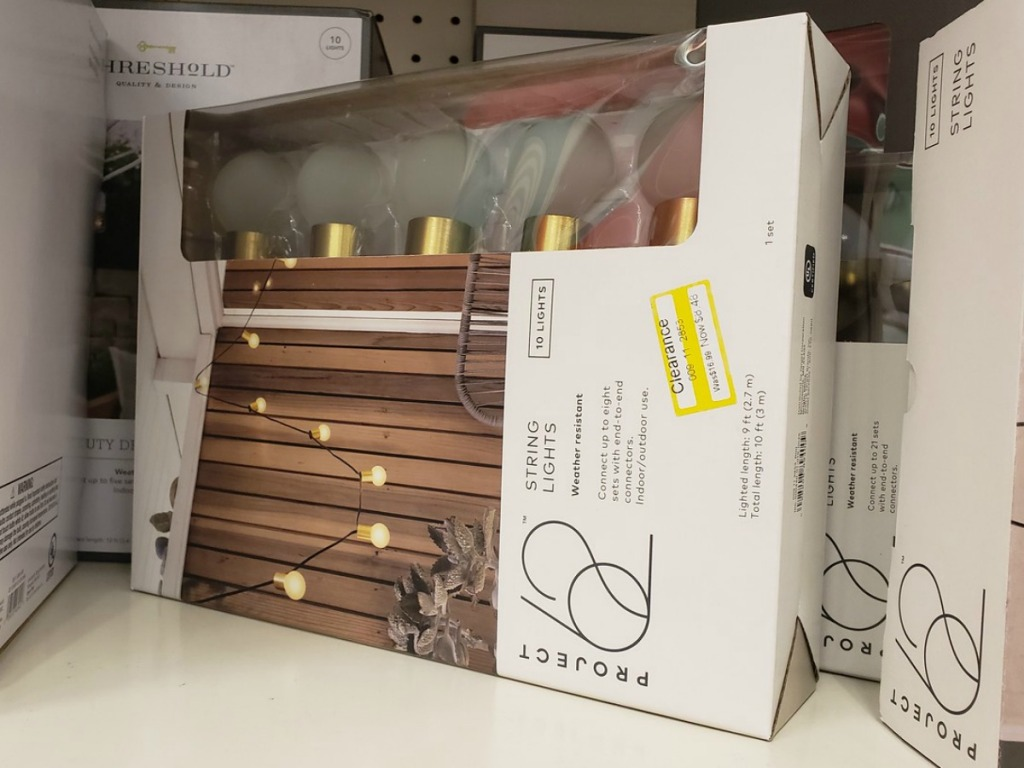 outdoor string lights on store shelf
