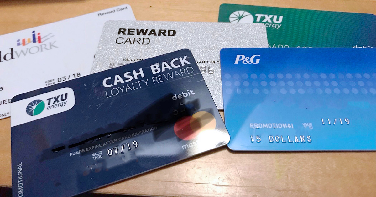 assortment of cash back and promotional gift cards