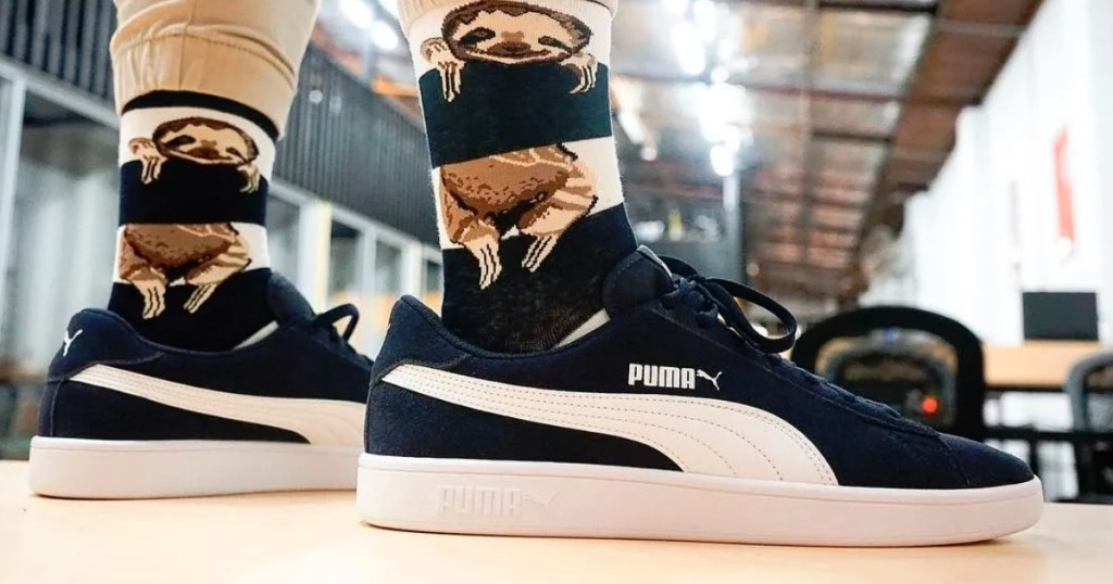 woman wearing puma shoes