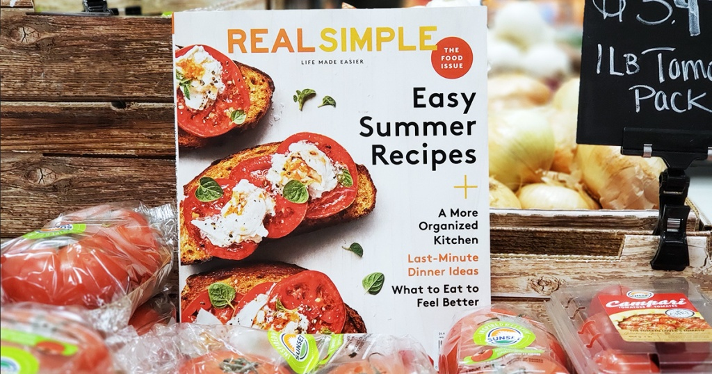 real simple magazine in pile of tomatoes