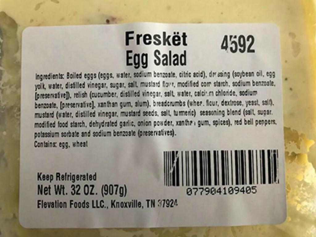 egg salad label of ingredients