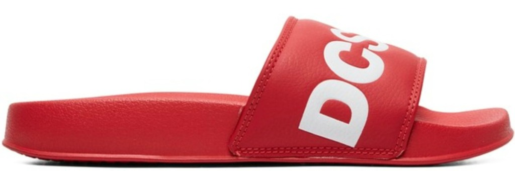 red DC women's slides