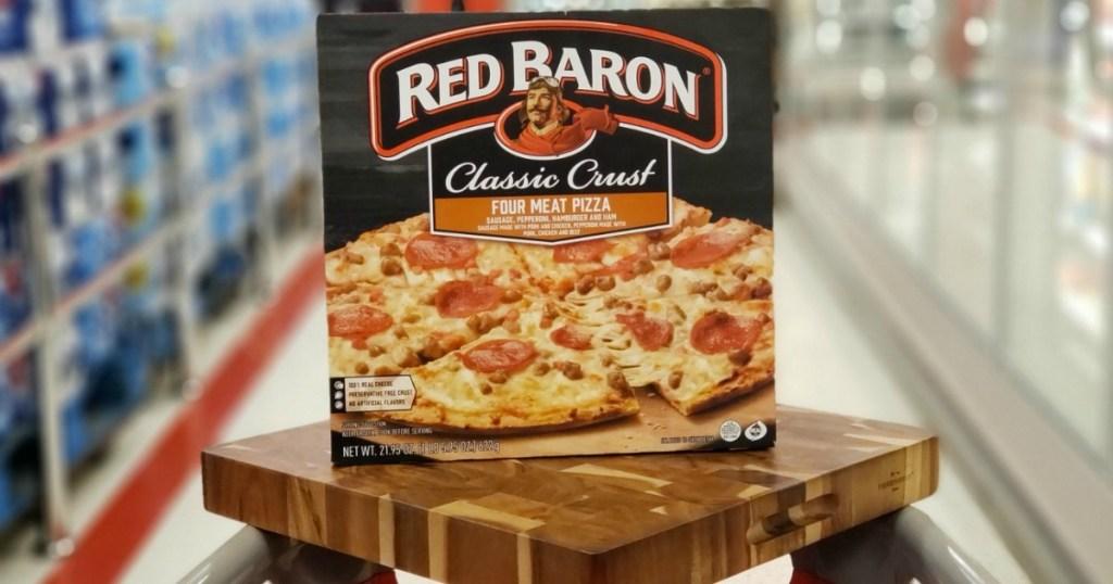 pizza on wood block