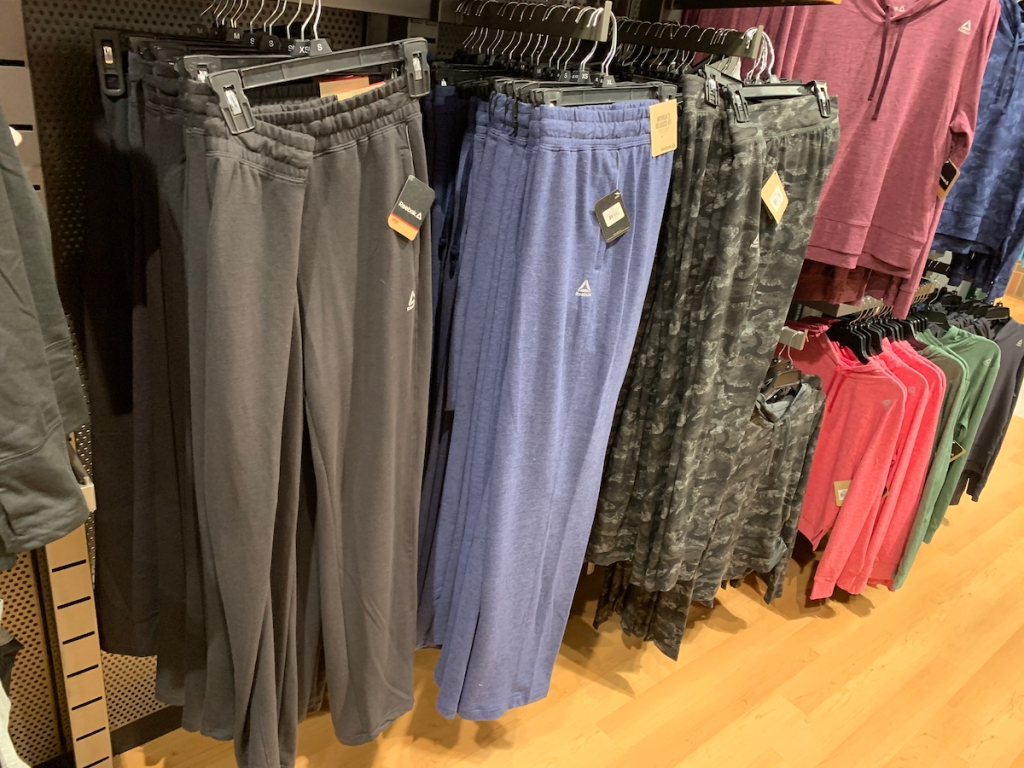 reebok fleece pants in grey and blue