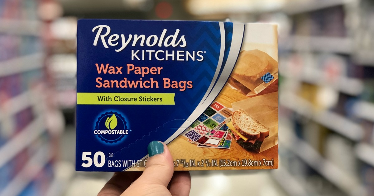 hand holding reynolds kitchen wax paper bags
