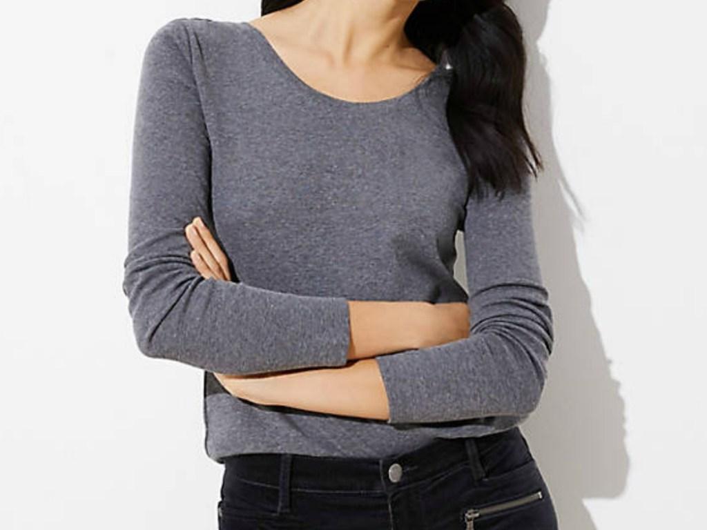 woman in long sleeve tee shirt
