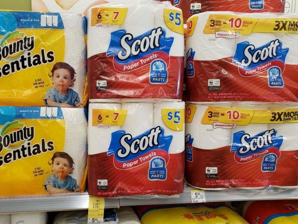 Scott Paper towels packs on walgreens shelf