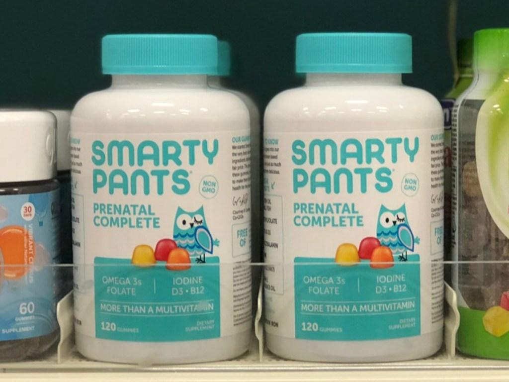 bottles of vitamins on store shelf