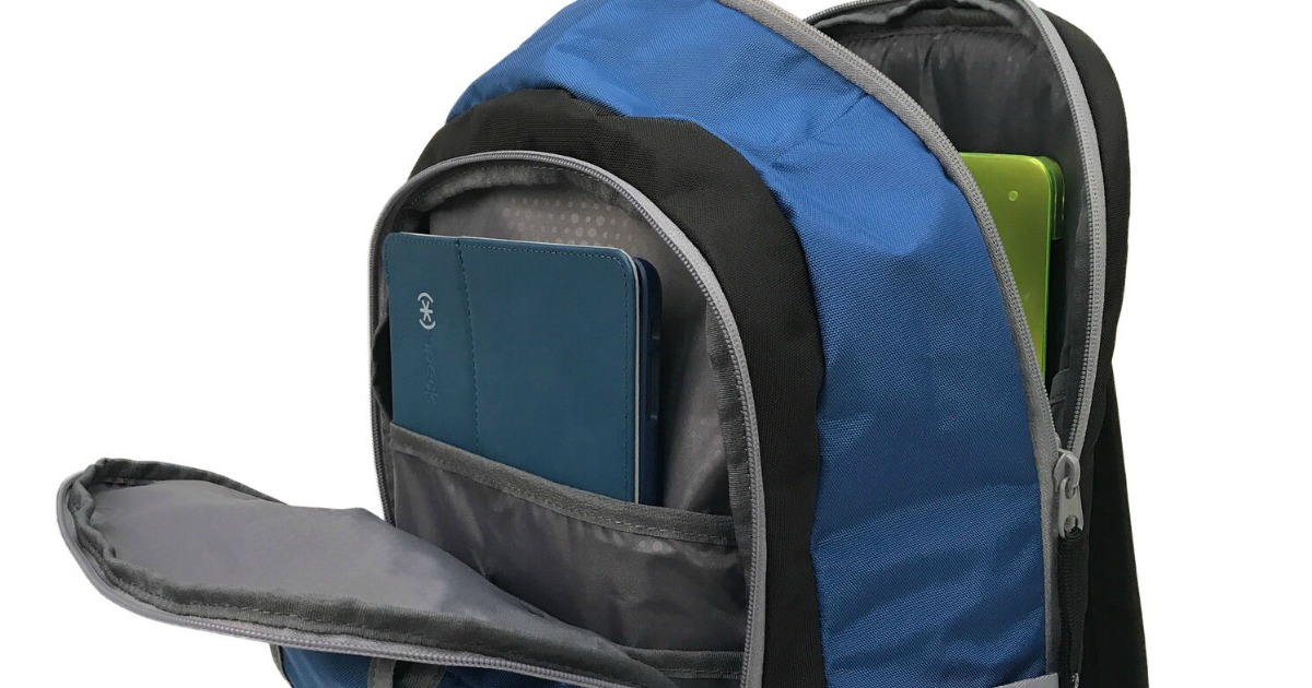 blue speck backpack open to show tablet and laptop