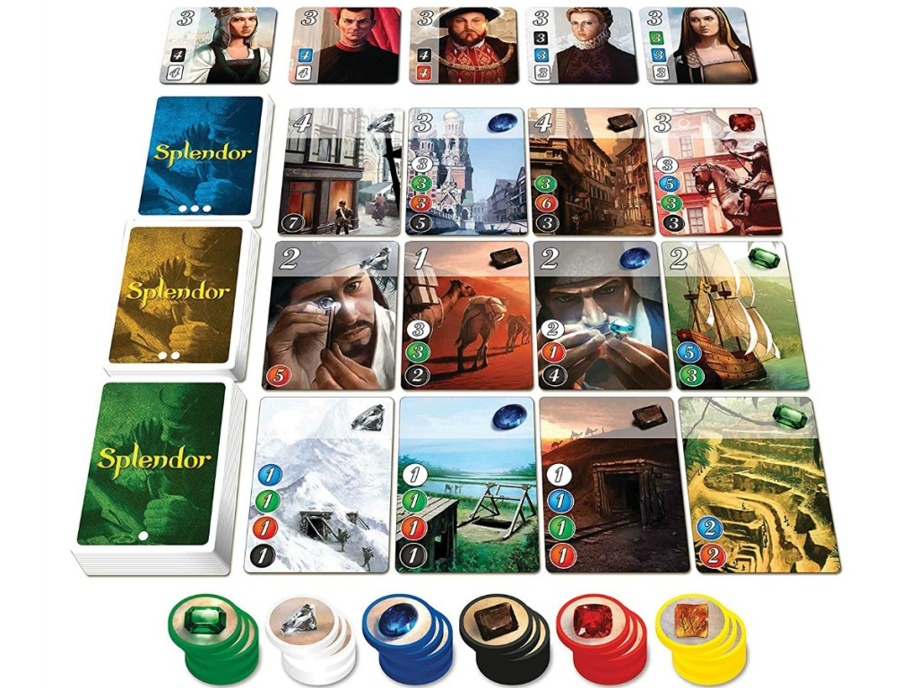 splendor card game and chips