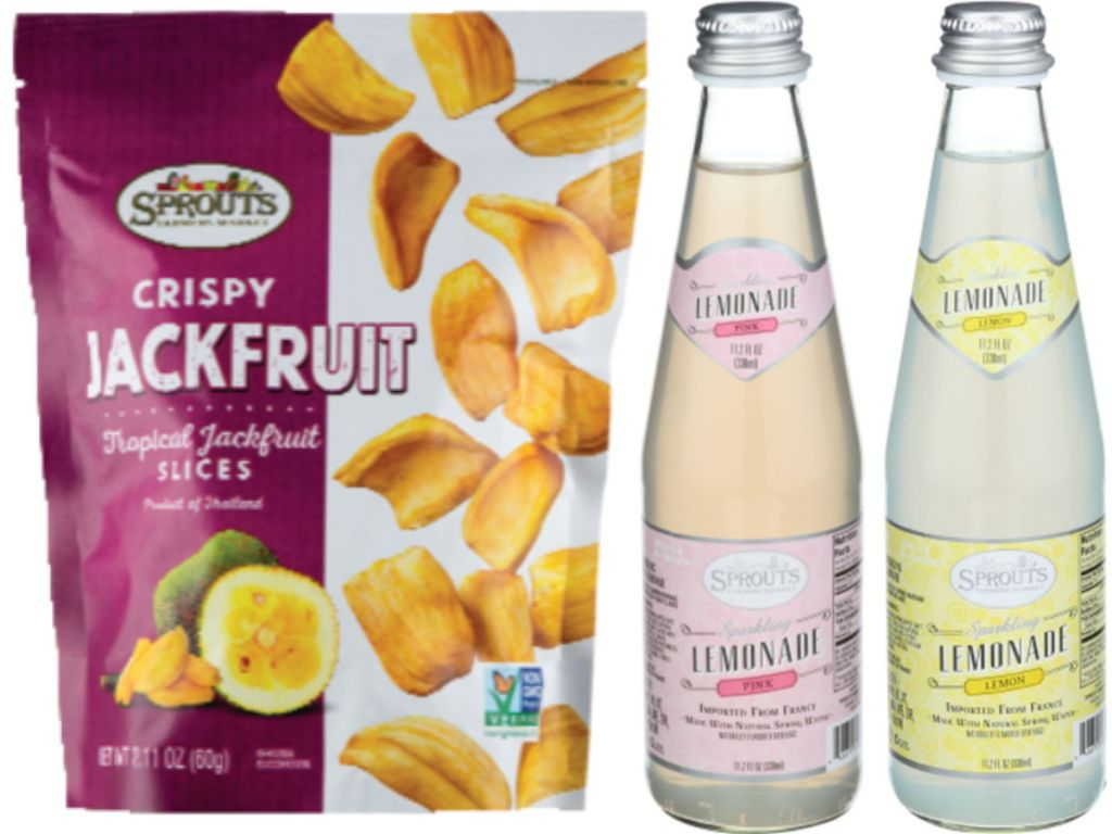 sprouts free sparkling lemonade and crispy jackfruit