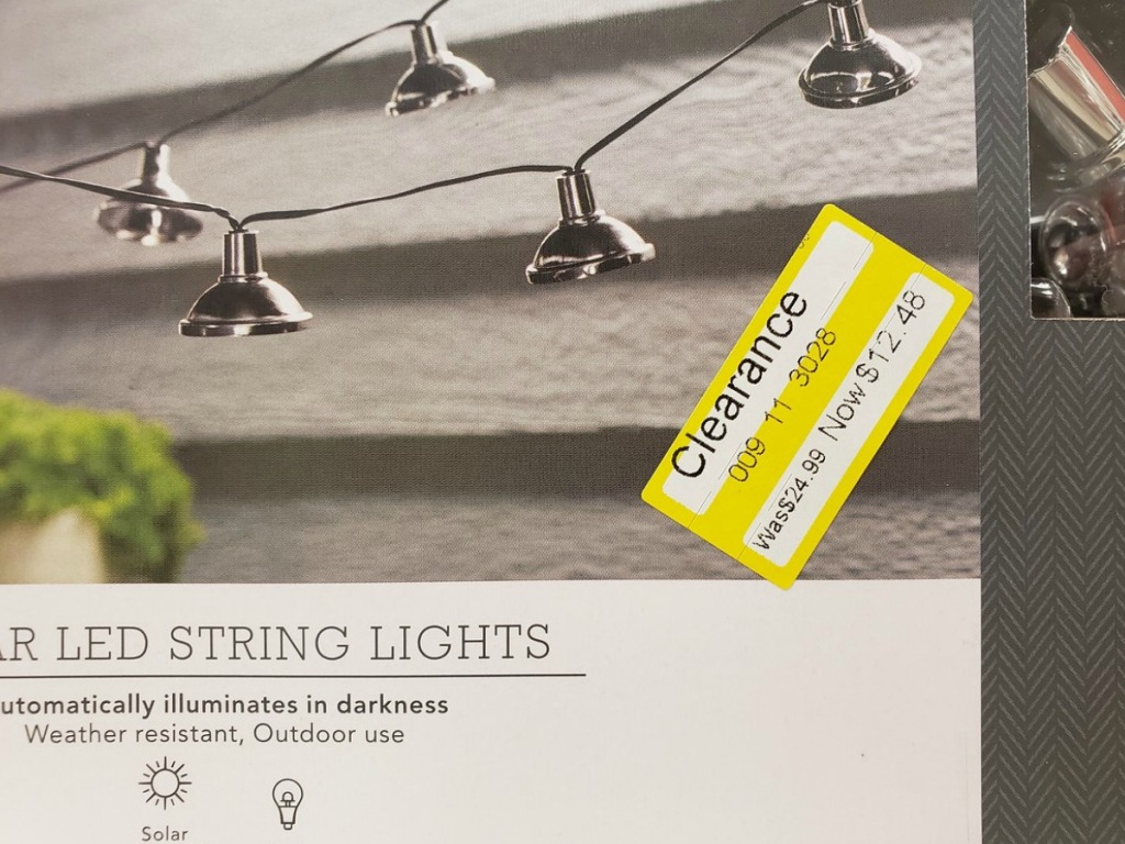 string lights with clearance tags