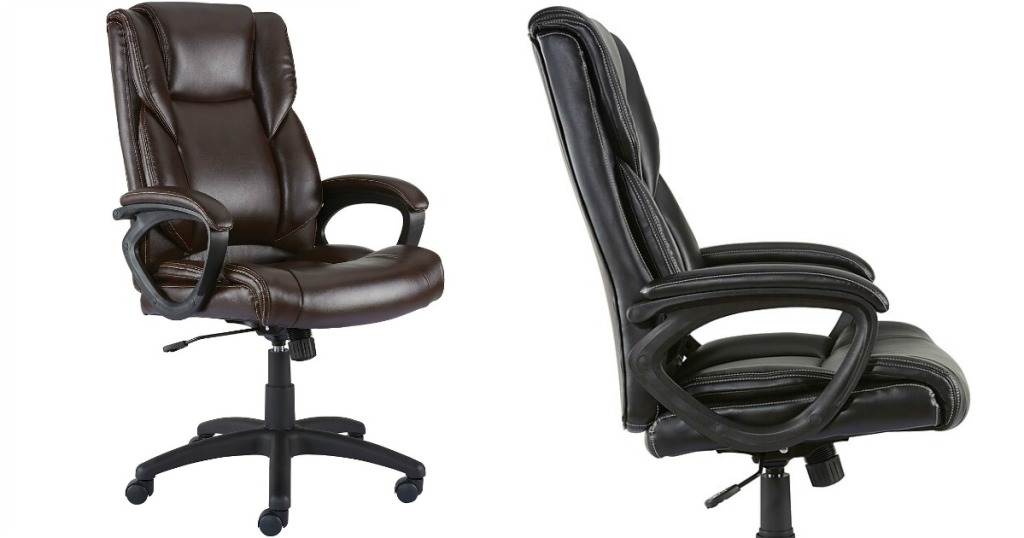 brown office chair next to black office chair