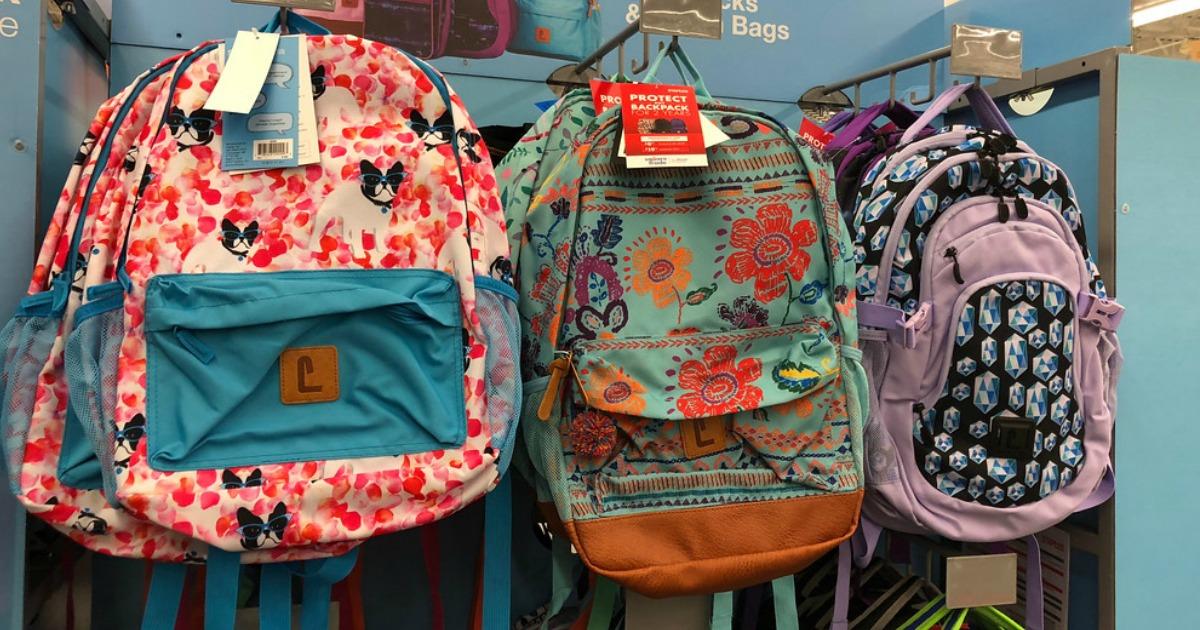dog backpack, flower backpack, purple backpack in store