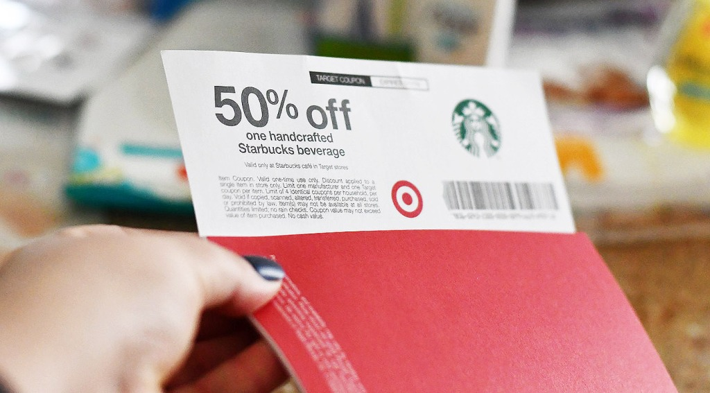 holding Starbucks baby registry 50% off Target coupon