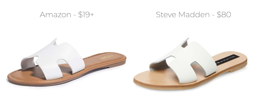white cut out sandals amazon and steve madden comparison