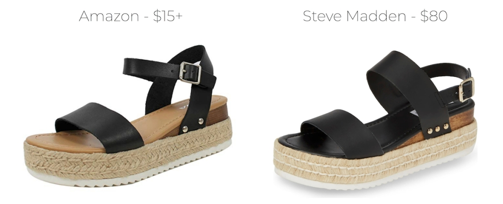 amazon and steve madden price comparison on black sandals