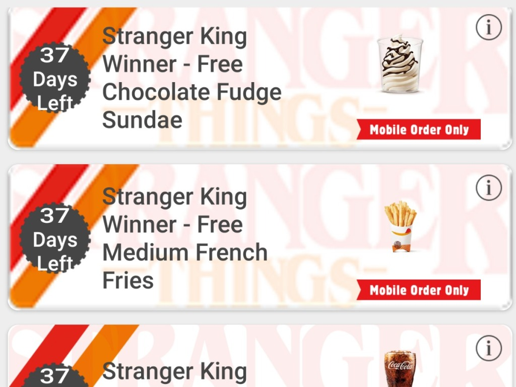 screen picture of Burger King app offers