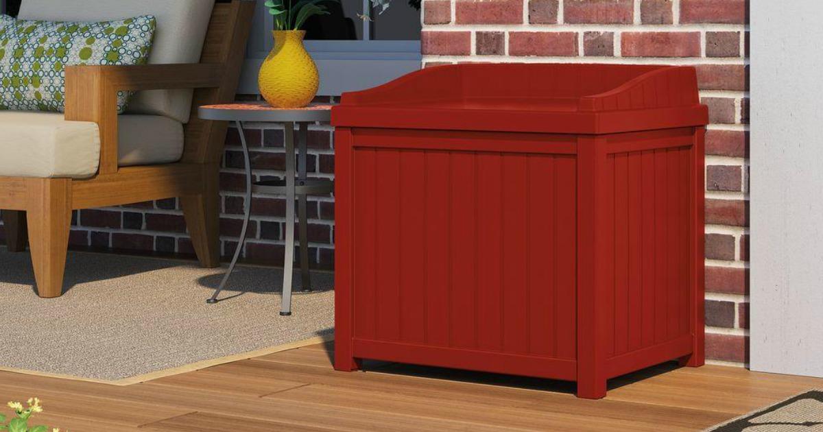 red outdoor deck storage box