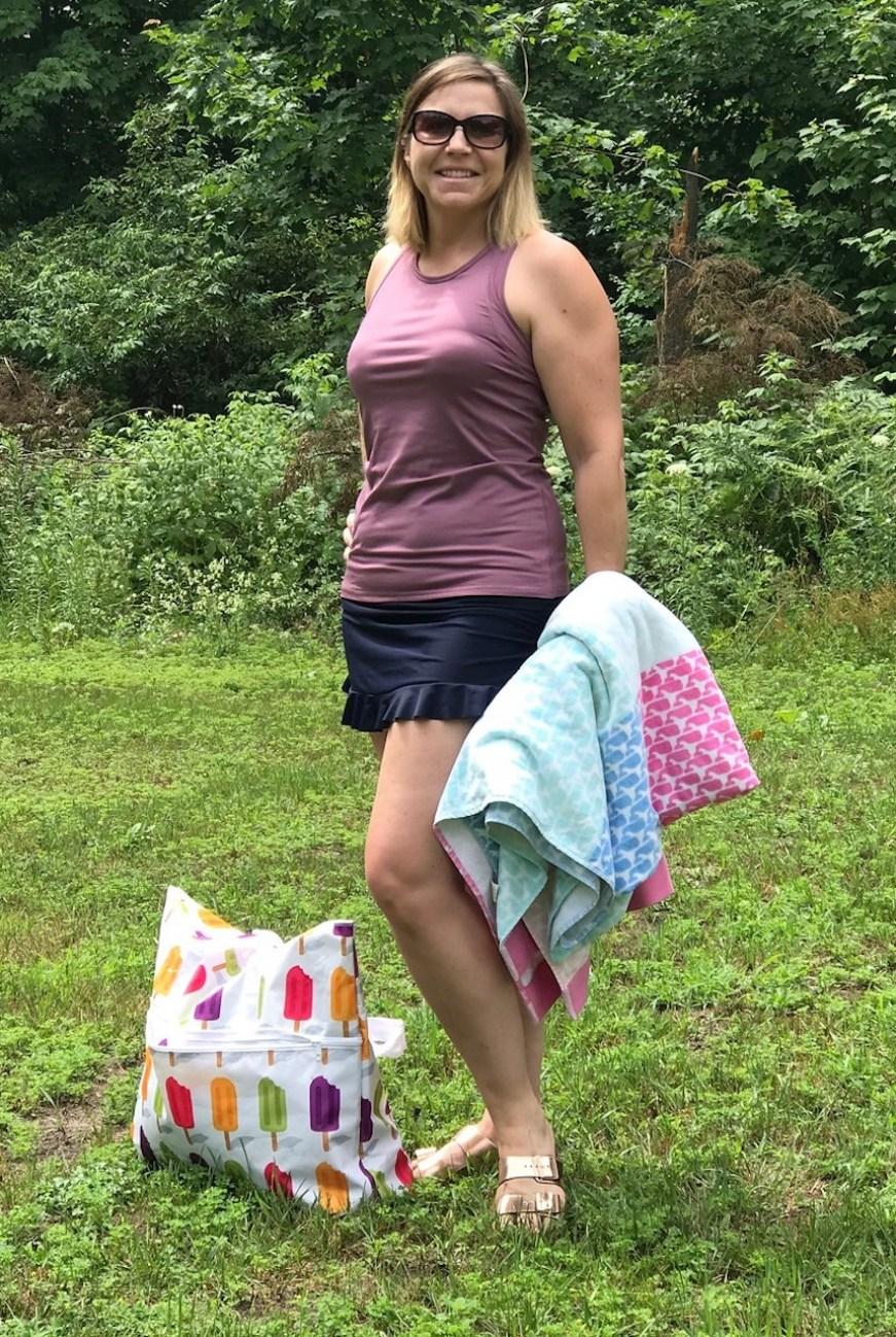 women modleing ruffle swim skirt