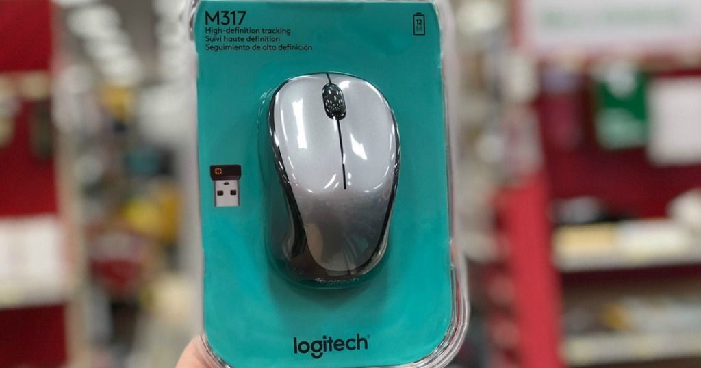 hand holding logitech m317 wireless mouse at target