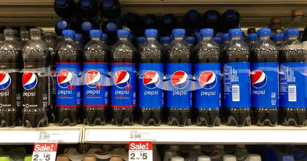 pepsi 6 pack bottles on a shelf at target