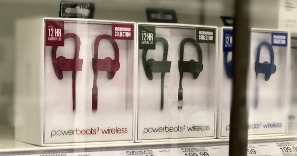 powerbeats3 wireless earphones on shelf at target