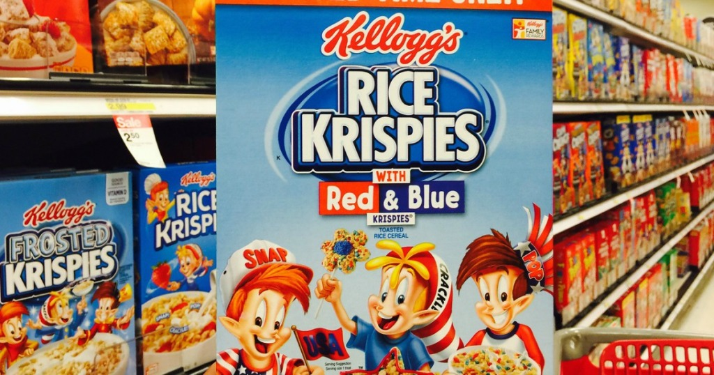 hand holding rice krispies red and blue at target