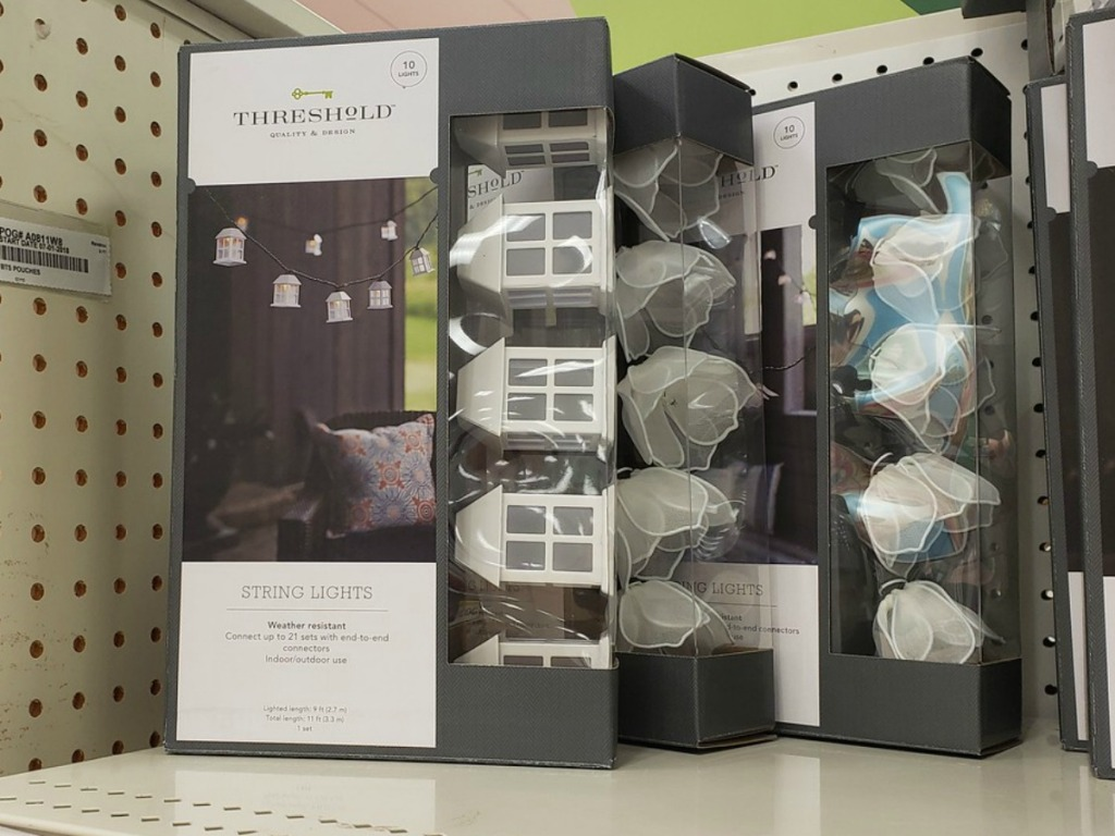 packs of string lights on store shelf