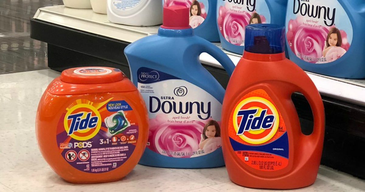 tide pods, liquid laundry detergent and downy fabric softener at target