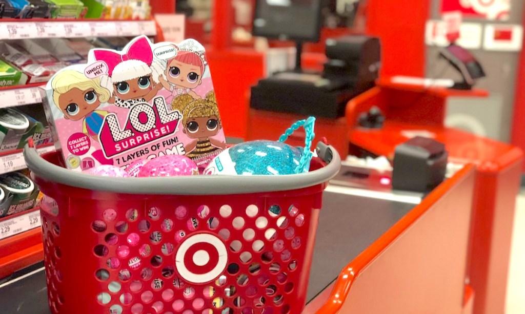 target basket on checkout belt