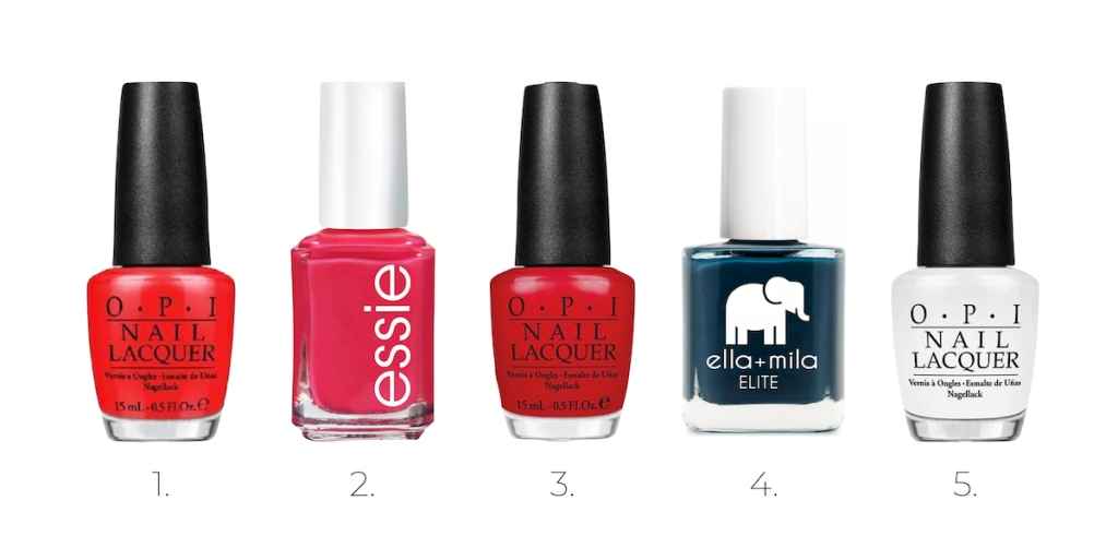 row of nail polish colors red pink dark blue and white