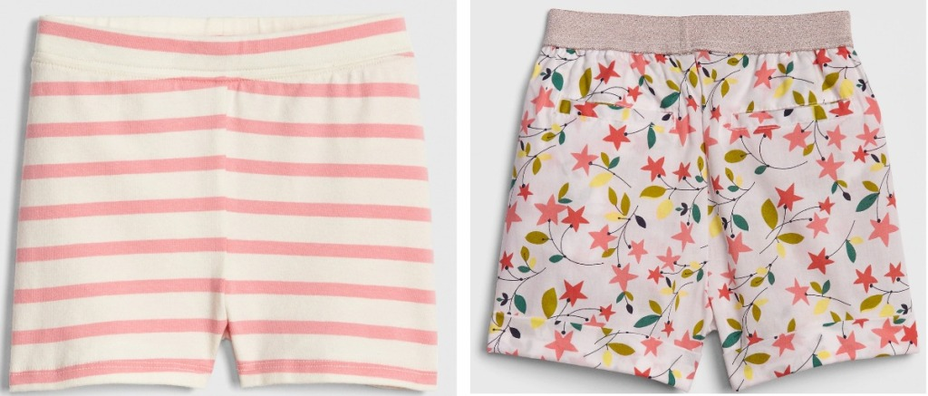 striped shorts and flower shorts