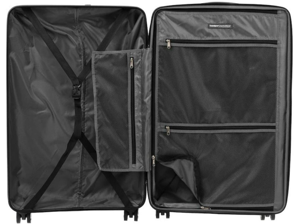black luggage opened up to show inside