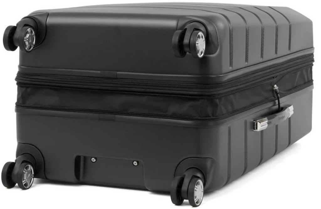 side view of suitcase that is black wheels