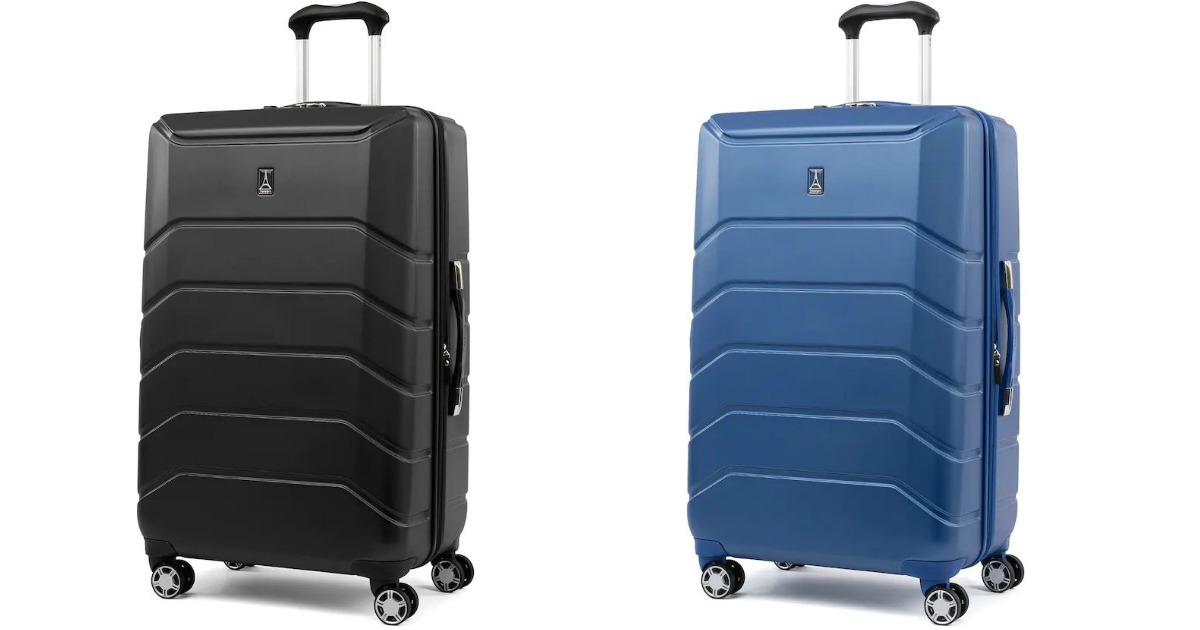 a blue and a black piece of luggage on white background