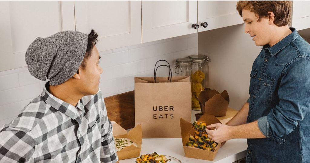 adults eating uber eats