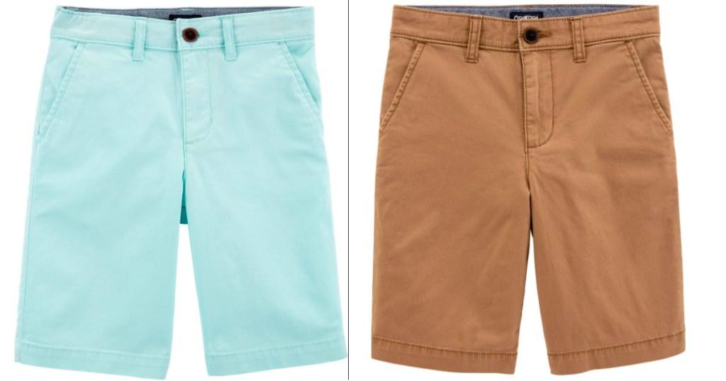 green/blue shorts and tan shorts