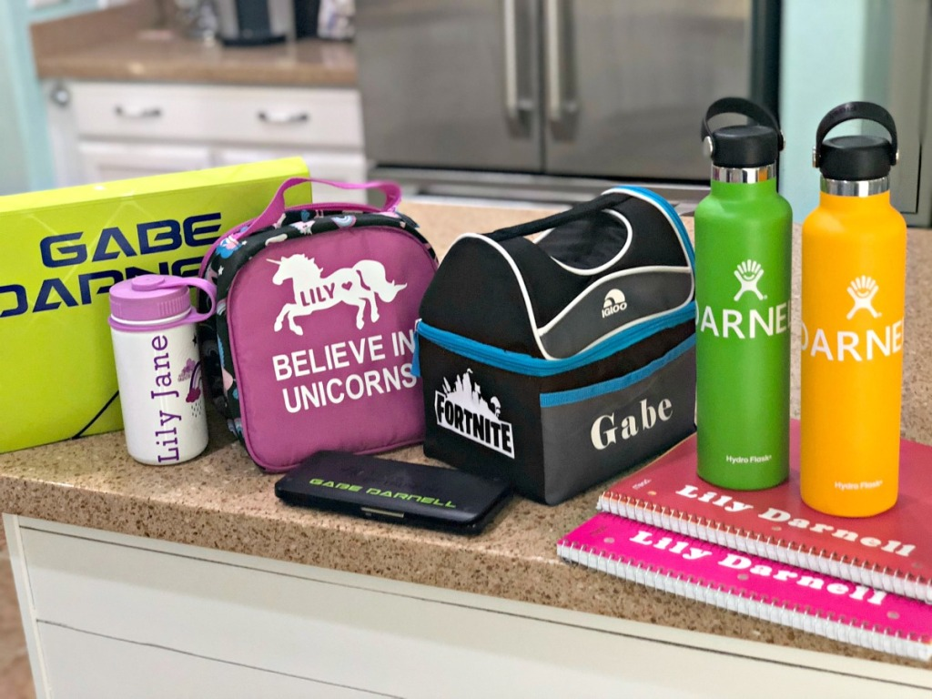 back to school items labeled with a Cricut