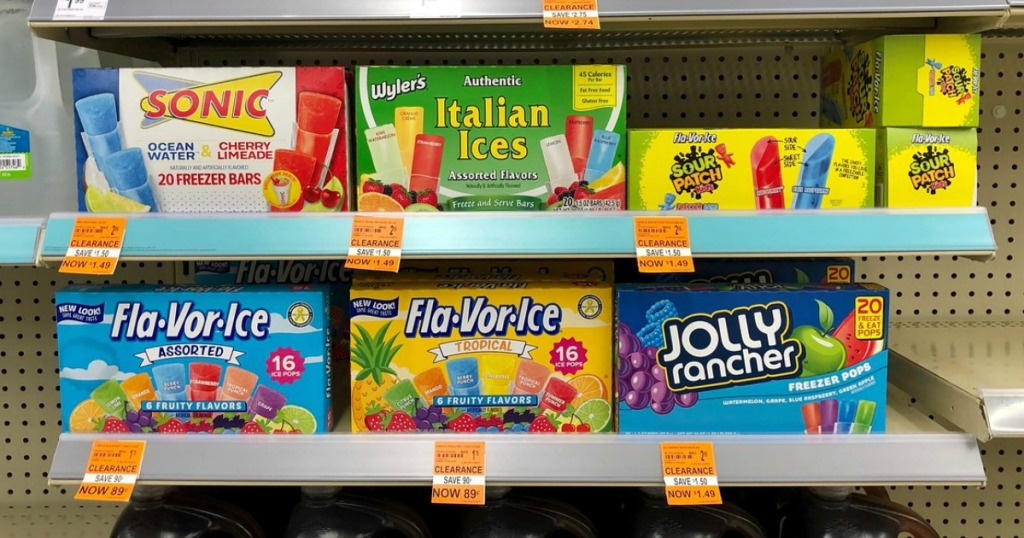 sonic, wyler's, fla-vor-ice and sour patch kids freezer pops on clearance at walgreens