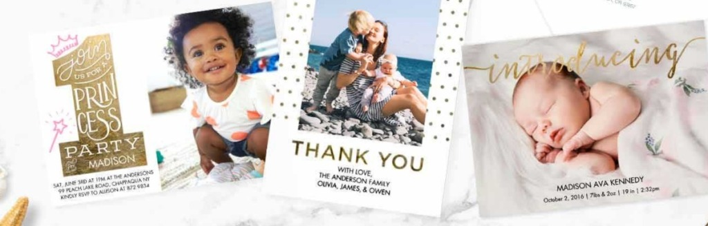 three different personalized photo cards