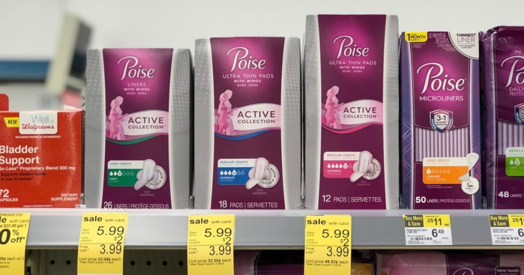 poise active collection pads on a shelf at walgreens