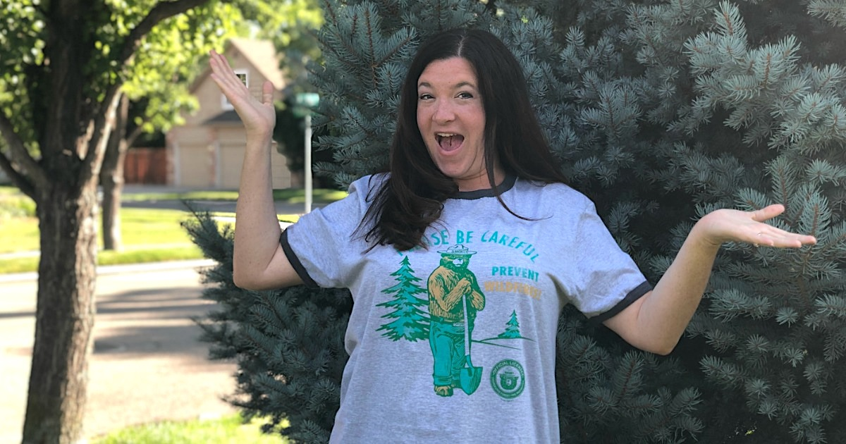 women wearing retro smokey the bear tee