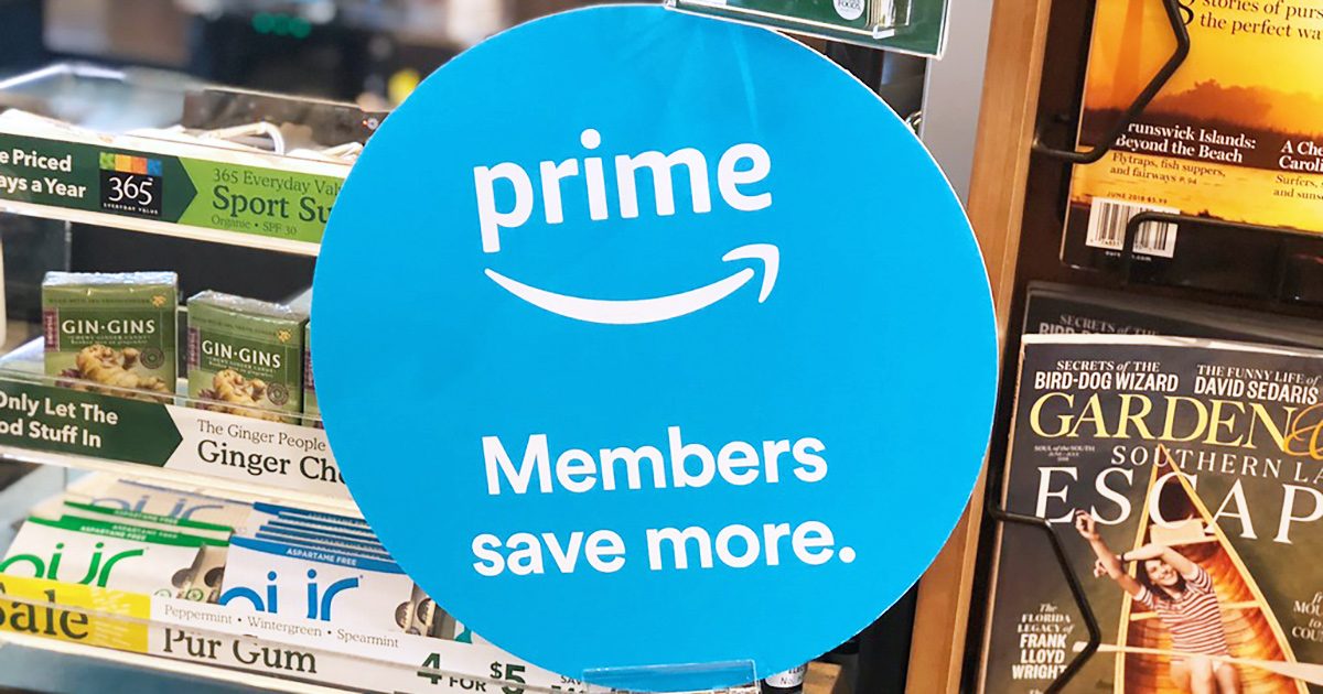 whole food signage for savings for amazon prime members